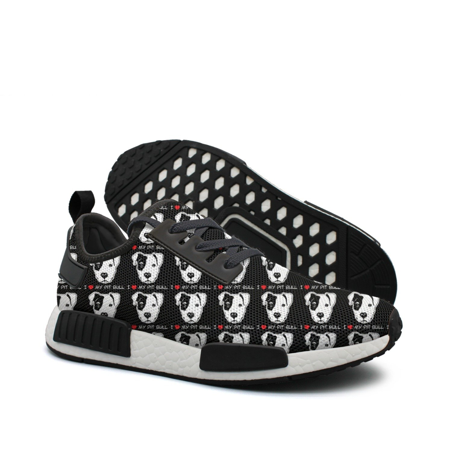 WhiteUnicorn Men's I Love Pit Bull Pet Dog Pattern Sneakers Casual Running Shoes Outdoor Trainers