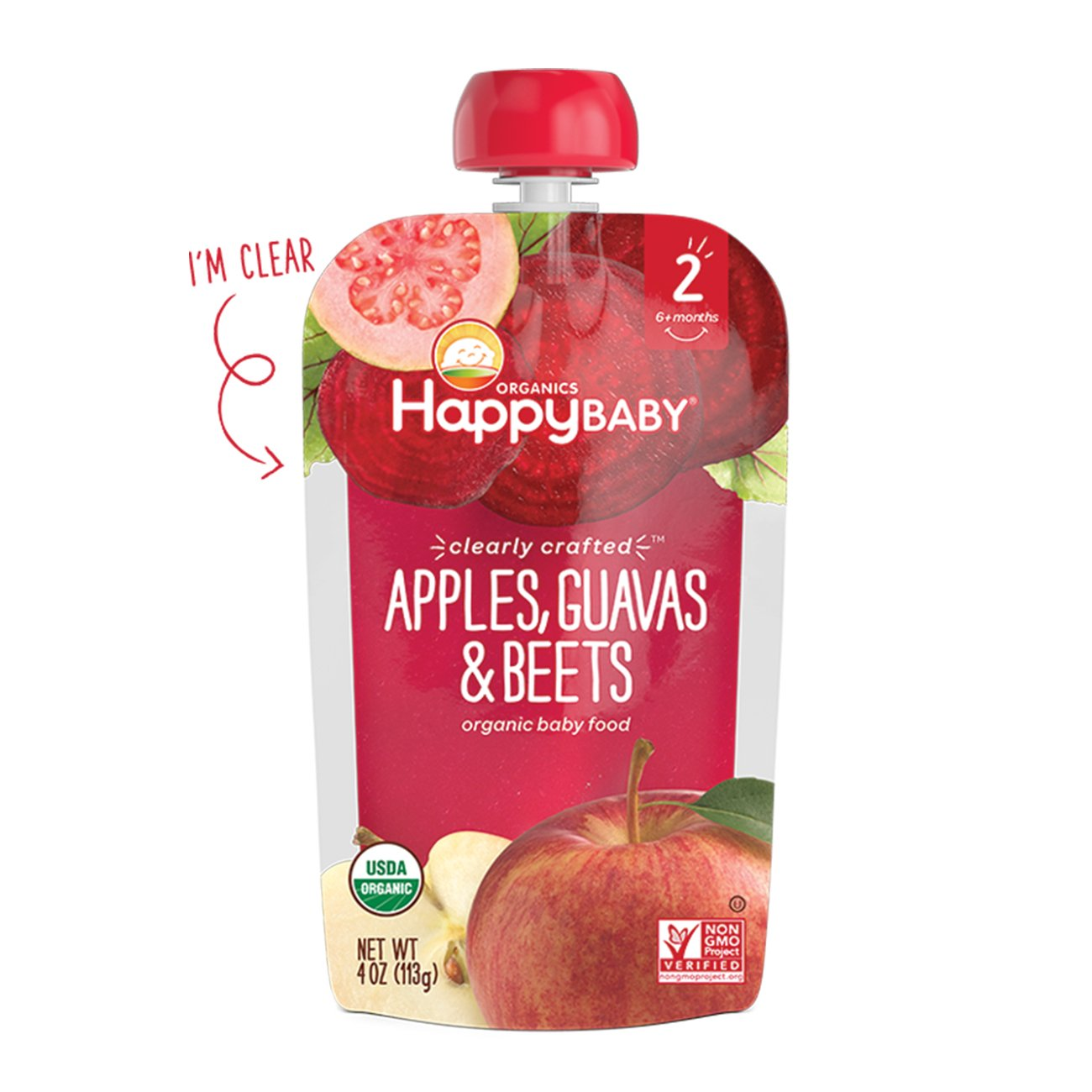 happy baby organic clearly crafted stage 2 baby food apples guavas