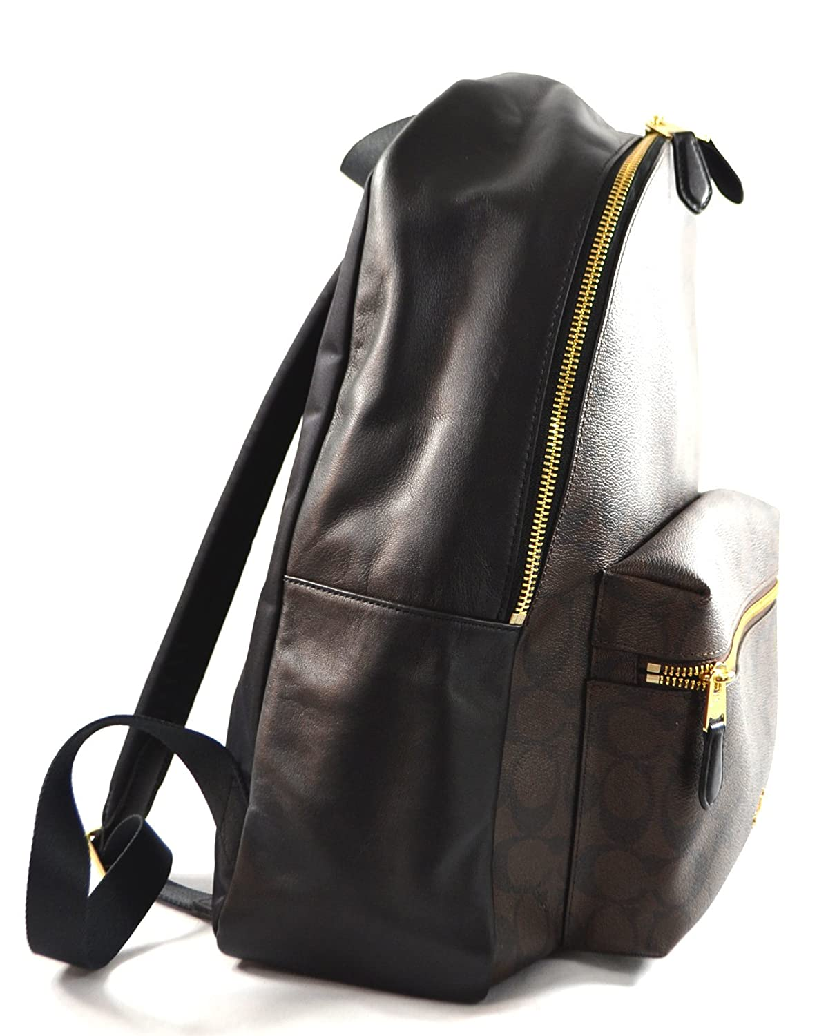 Coach Pebbled Leather Backpack F37410 Black Black Brown