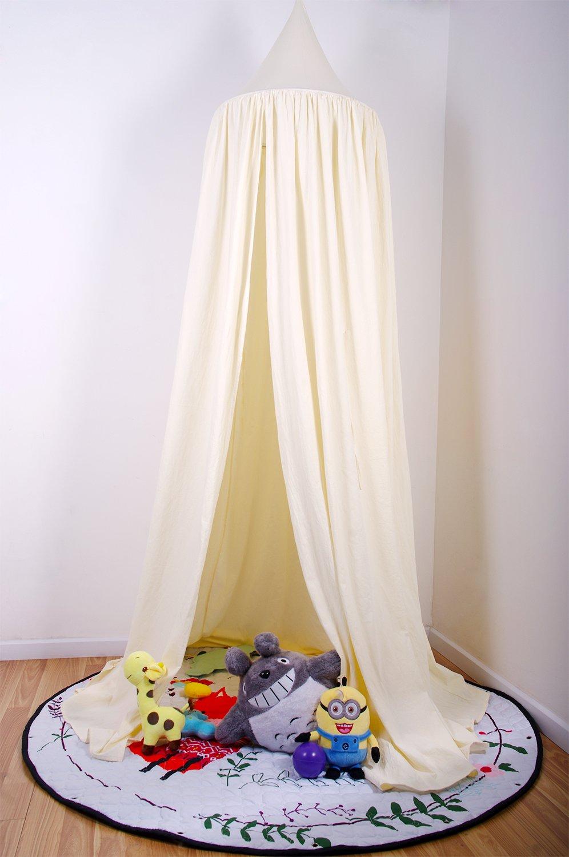 Loisleila Cotton Dome Mosquito Net Princess Bed Canopy Children Room Decorate Indoor Outdoor Castle Play Tent Height 230cm(Beige)