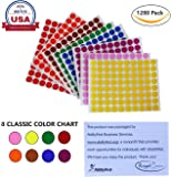 Dot stickers colors 1/2 inch 13mm - Colored labels round sticker in 8 colors - 16 sheets total - 1280 Pack by Royal Green