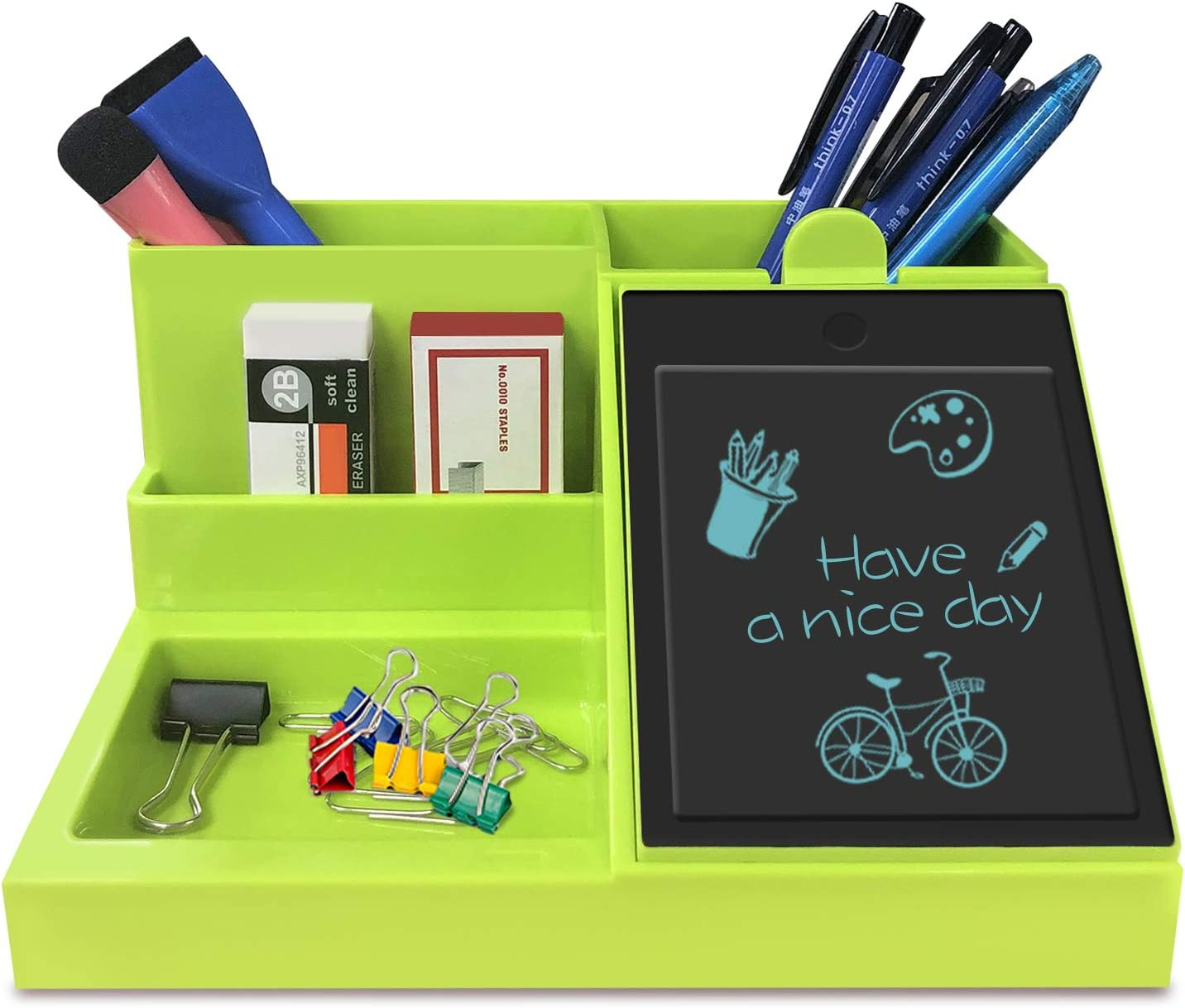 GUYUCOM Multifunctional Desktop Organizer with LCD Writing Tablet for Pen/Business Card/Mobile Phone/Office Supplies Storage-GREEN