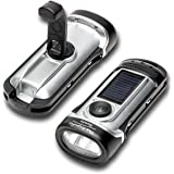 LED Flashlight, 2-Pack, Hand Crank Dynamo Rechargeable Torch, Waterproof with Solar Charge by The Friendly Swede (Silver)