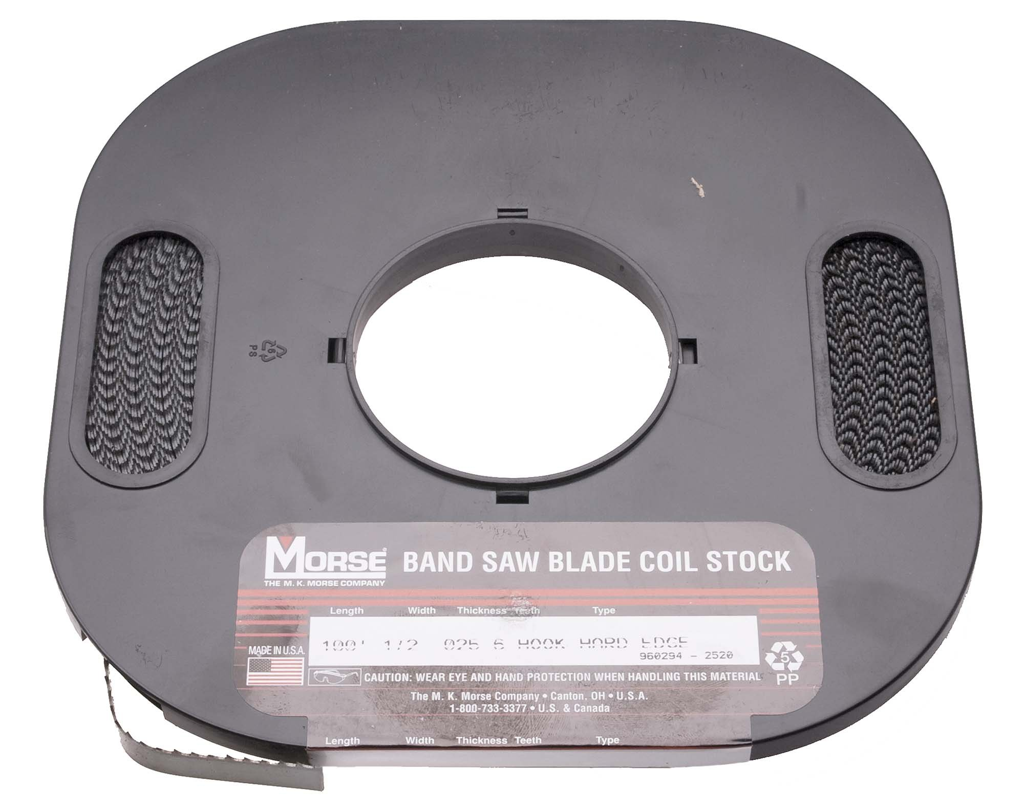 M K Morse 3/8-4 Hook 100 foot Roll USA Carbon Steel, Hard Edge, Flex Back Bandsaw Blade by M.K. Morse