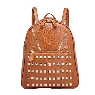 Para Mujer Moda Moda De Imitación De Cuero Mochila Con Tachuelas Bolso De Hombro,Brown-M: Amazon.es: Ropa y accesorios