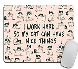 Mouse Pad Mousepad Cat Mouse Pad Funny Coworker Gift Office Supplies Cat Lover Gift Pink Office Desk Accessories Cubicle Decor Peach Cute - I Work Hard So My Cat Can Have Nice Things