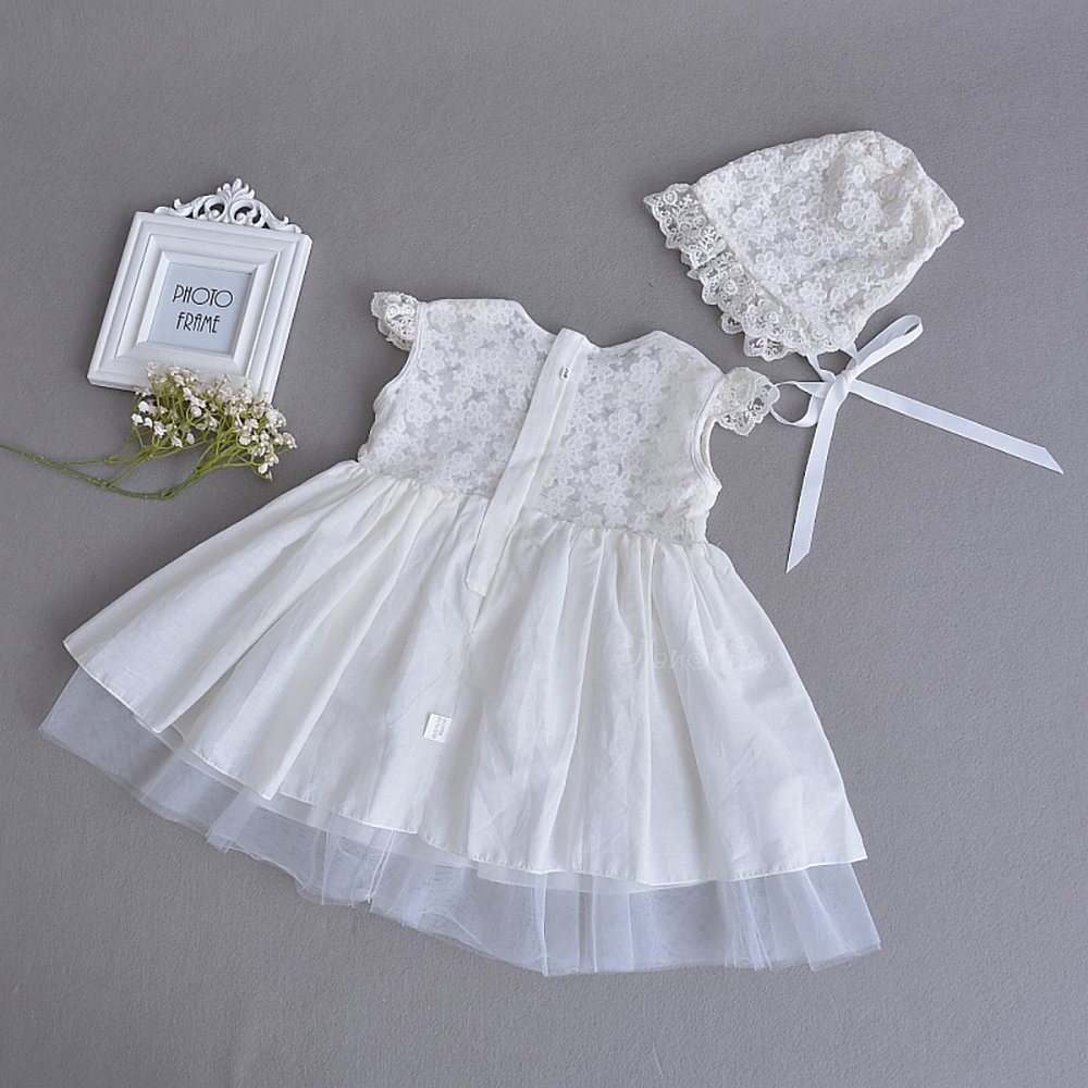 Romping House Baby Girls 3Pcs Lace Cap Sleeves Christening Baptism ...
