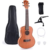 Concert Ukulele Mahogany 23 Inch with Ukulele Set Gig Bag Strap Nylon String Tuning Clip for Kids and Beginners Kit-Brown