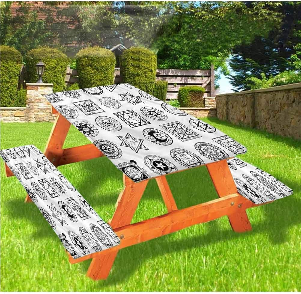Occult Picnic Table and Bench Fitted Tablecloth Cover,Square Shaped Alchemy Sign Elastic Edge Fitted Tablecloth,28 x 72 Inch, 3-Piece Set for Camping, Dining, Outdoor, Park, Patio