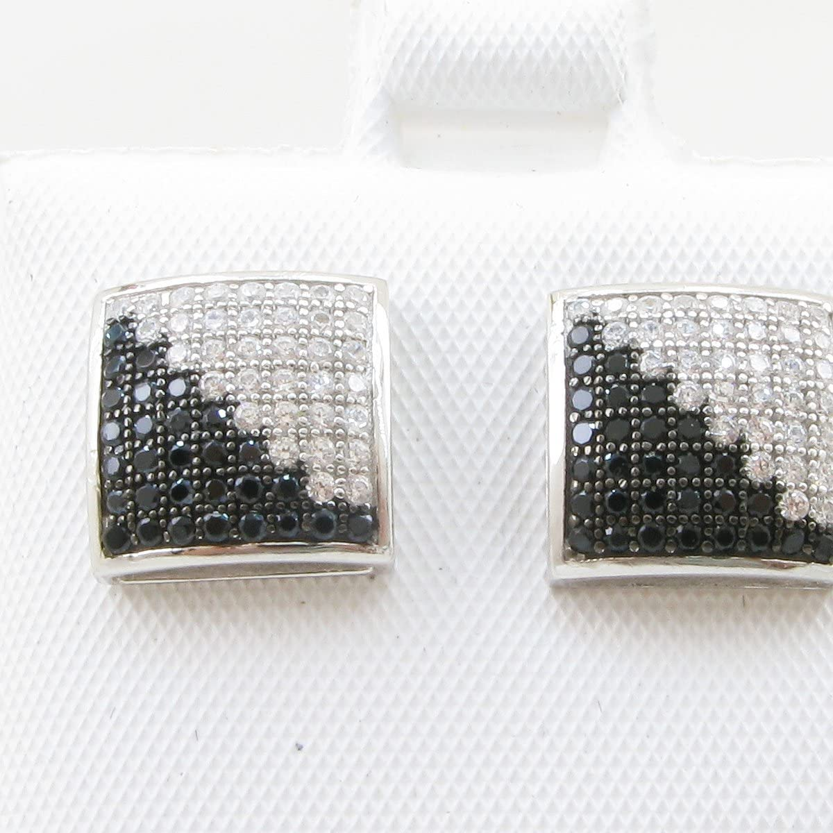 Mens .925 sterling silver White and black 8 row square earring MLCZ100 5mm thick and 10mm wide Size