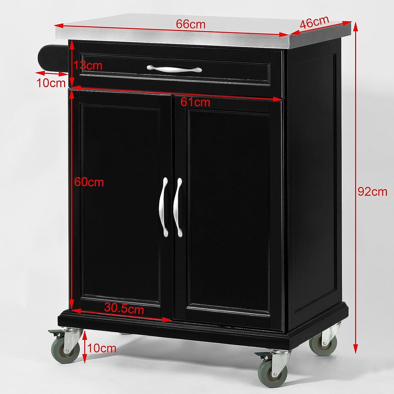 SoBuy® Luxus-Küchenwagen mit Edelstahltop, Küchenschrank ...