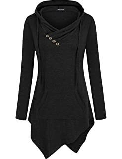 e9b6391ce Miagooo Uneven Hemline Hoody Shirt Kangaroo Pocket Tunic Long Sleeve Casual  Tops