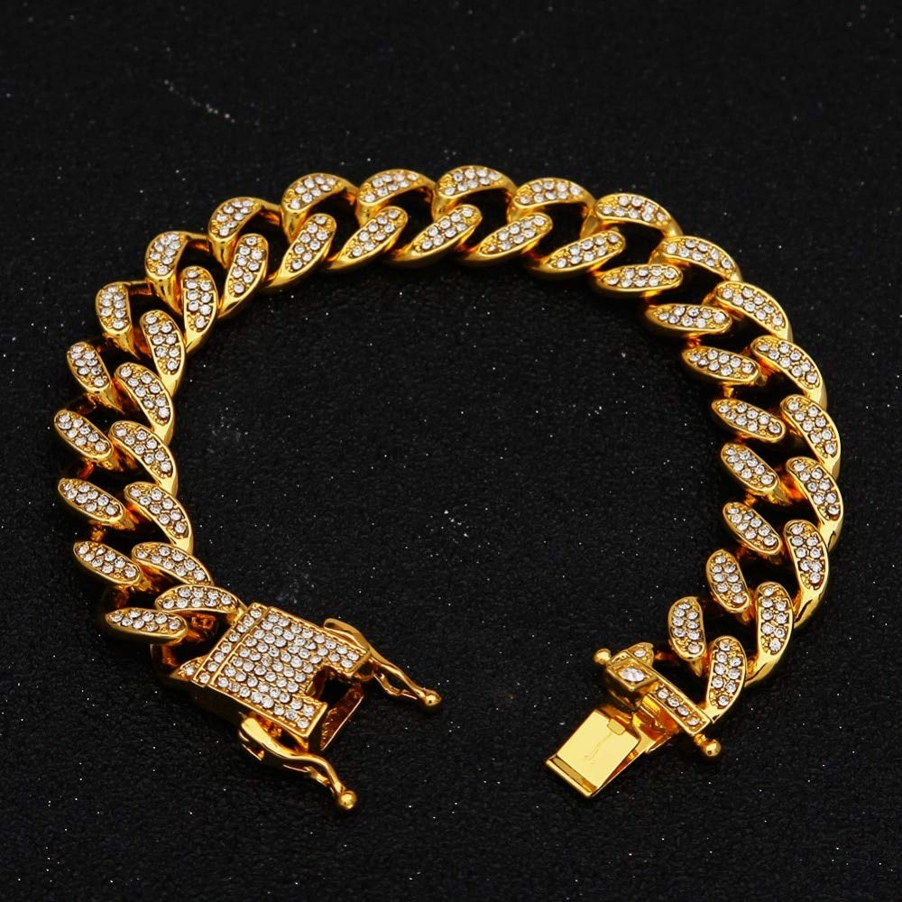 Purra145 Hip Hop Necklaces Iced Out Crystal Rhinestone Miami Cuban Chain Gold Silver Color Zircon Necklace Bracelet Set for Mens Women