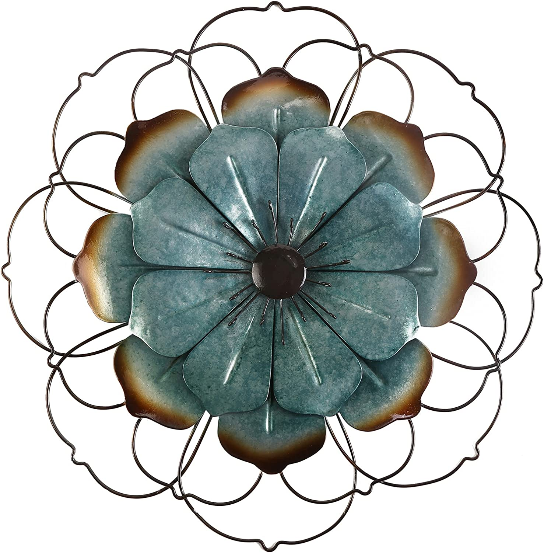 Large Teal/Cyan Metal Flower Wall Decor,12