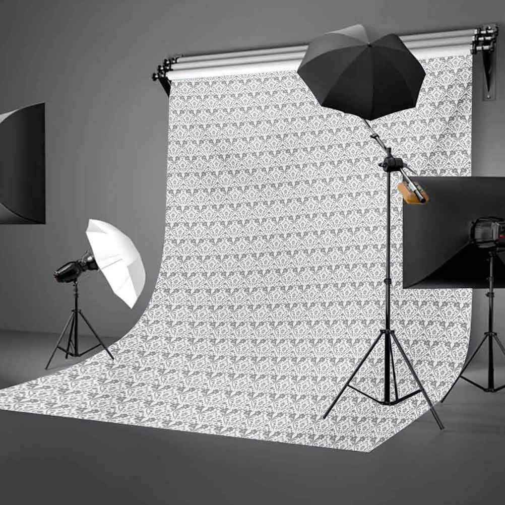 Grey and White 6.5x10 FT Photo Backdrops,Vintage Flourishing Flowers with Traditional Design and Curves Background for Child Baby Shower Photo Vinyl Studio Prop Photobooth Photoshoot