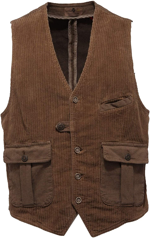 8565AB Gilet Uomo GARRY'S Earth Brown Corduroy Waistcoat Man Marrone
