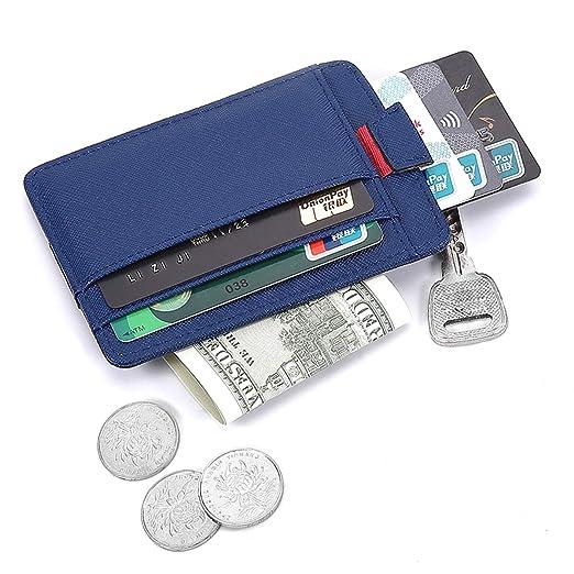 0722f51b6062 Krone Kalpasmos Leather Card Case Wallets Credit Card Holder Slim Mens  Minimalist Wallet RFID Blocking Front