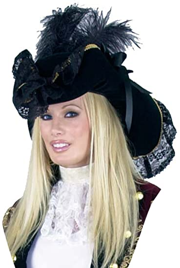 Women's Black Lacey Feathered Pirate Hat Trimmed with Gold Braid and Accented with Black Lace, Black Ostrich Plumes and Black Satin Ribbon Bows by Charades