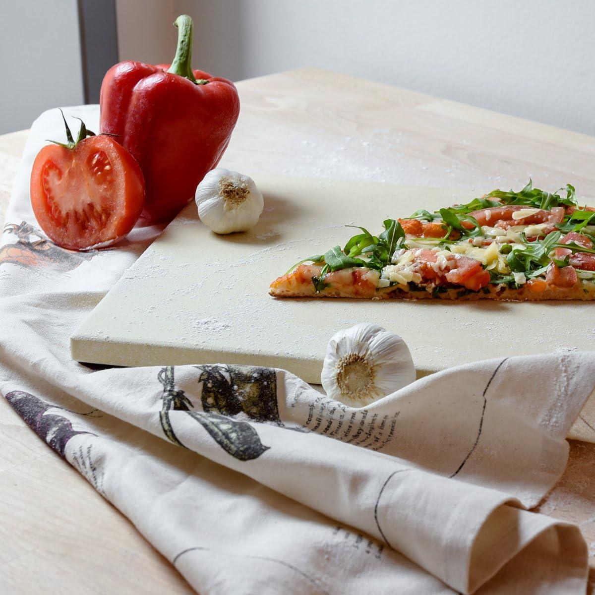 Kit Pierre /à Pizza Rectangulaire XL avec Pelle en Bambou Navaris Pierre /à Pizza avec Pelle Four Traditionnel Bois Barbecue Grill et Charbon