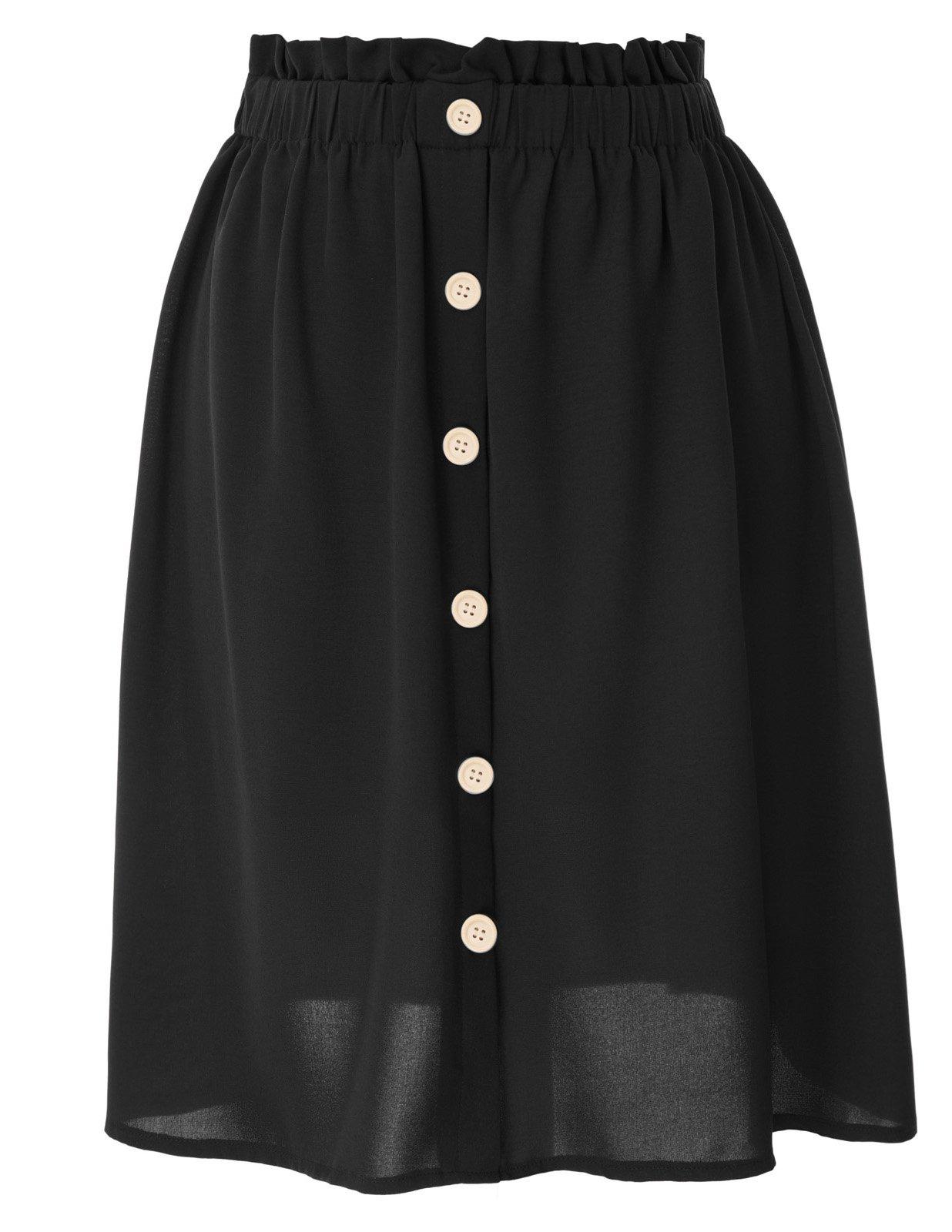 Women's Summer High Waist A-Line Knee Length Skirt for Office Work Black M