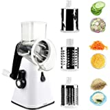 DLD Rotary Cheese Grater, Kitchen Mandoline Vegetable Slicer with 3 Interchangeable Blades, Easy to Clean Rotary Grater Slice