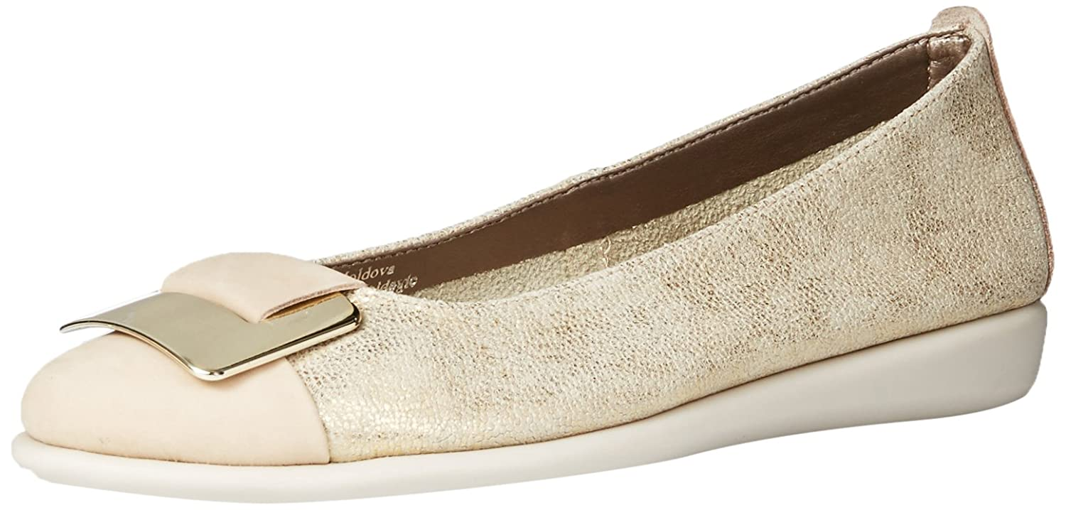The FLEXX Women's Rise N Curry Ballet Flat B0173QGALQ 6 B(M) US|Gold/Corda Cosmic/Nubuck