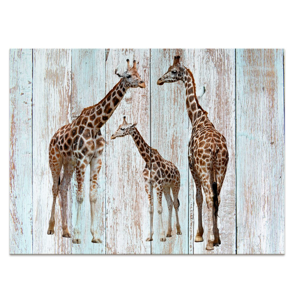 "Visual Art Creative Giraffe Canvas Prints Wall Decor Wood Background Painting Photography Animals Prints Home Decor (24""x32"", Giraffe)"