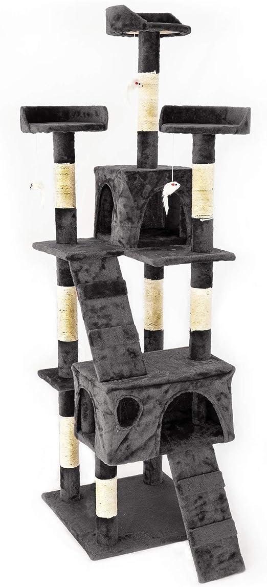 IPOTOOLS Árbol para Gatos Grandes Estable – Árbol rascador para Gatos Grande y Estable con Cuevas de Peluche, columnas de sisal, tumbonas y cordeles de Juego 170 cm: Amazon.es: Productos para mascotas
