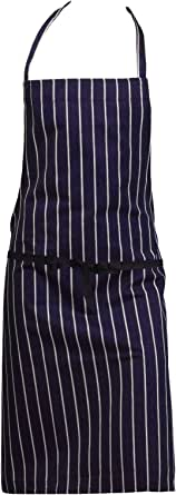 Rimi Hanger Chef Cook Waiters Adjustable Striped Bib Apron Restaurant Kitchen Catering Apron One Size Fits Most