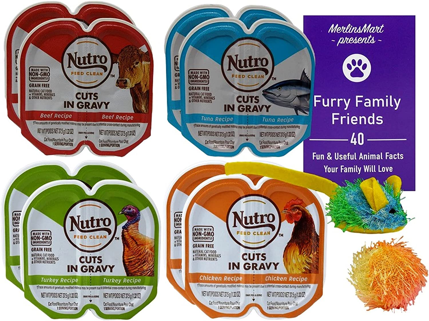Nutro Feed Clean Grain Free Cuts in Gravy Cat Food 4 Flavor 8 Can Variety - (2) Each: Beef, Turkey, Chicken, Tuna (2.6 Ounces) Plus 2 Catnip Toys and Fun Facts Booklet Bundle