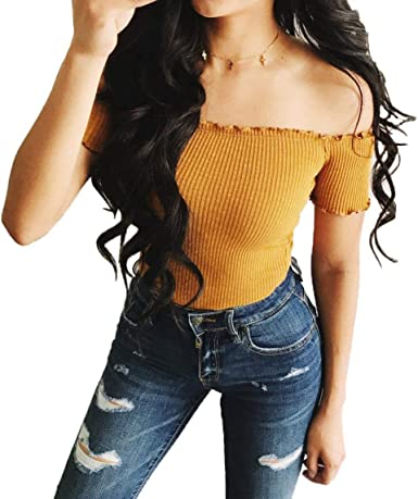 2018 Summer Short Top Womens Plain Moda Camisas Tops Blusas Tight ...