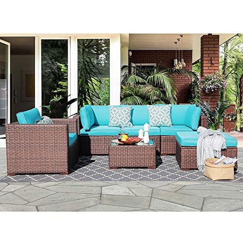 Outdoor Furniture Sectional Sofa 6 Pieces Patio Conversation Sets Brown Wicker with Seat Cushions Tempered Glass Coffee Table