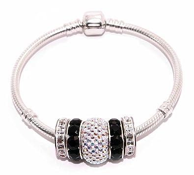 3a84ddb74092 Pulsera mujer plata compatible Pandora con abalorios de cristal Swarovski®  pulsera de plata 3mm varias