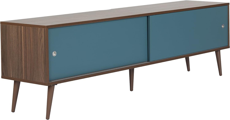 Retro 1800 - Mueble de TV (función Atril AV, Puerta corredera, gestión de Cables), Color Nogal Blue Doors: Amazon.es: Electrónica