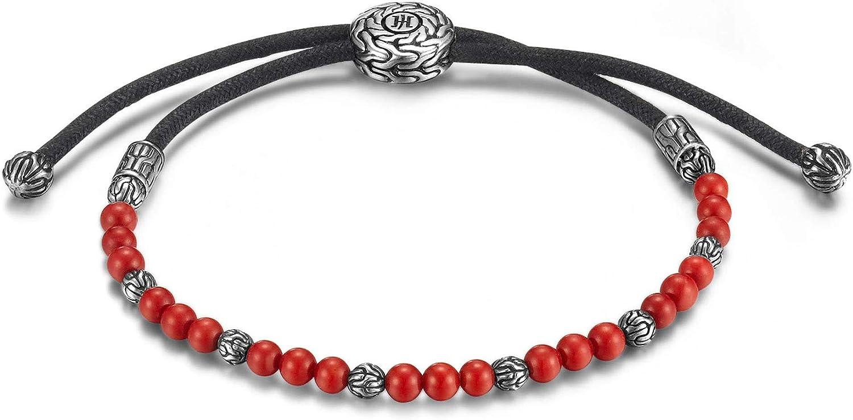 John Hardy Men's Classic Chain Silver Round Beads Pull Through Bracelet
