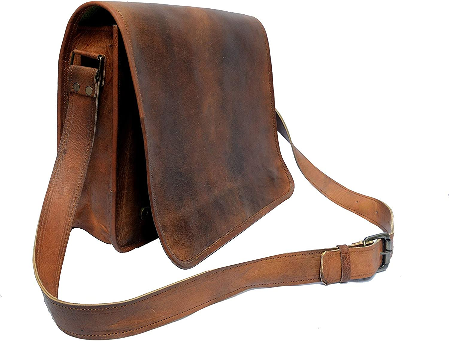 IndianHandoArt 13 inch Leather Real Messenger bag for Laptop Briefcase Satchel Men and Women