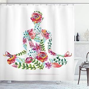 Ambesonne Yoga Shower Curtain, Colorful Yoga Pose Floral Human Leaf Meditating Spring Wellness Vibrant Colors Namaste, Cloth Fabric Bathroom Decor Set with Hooks, 84