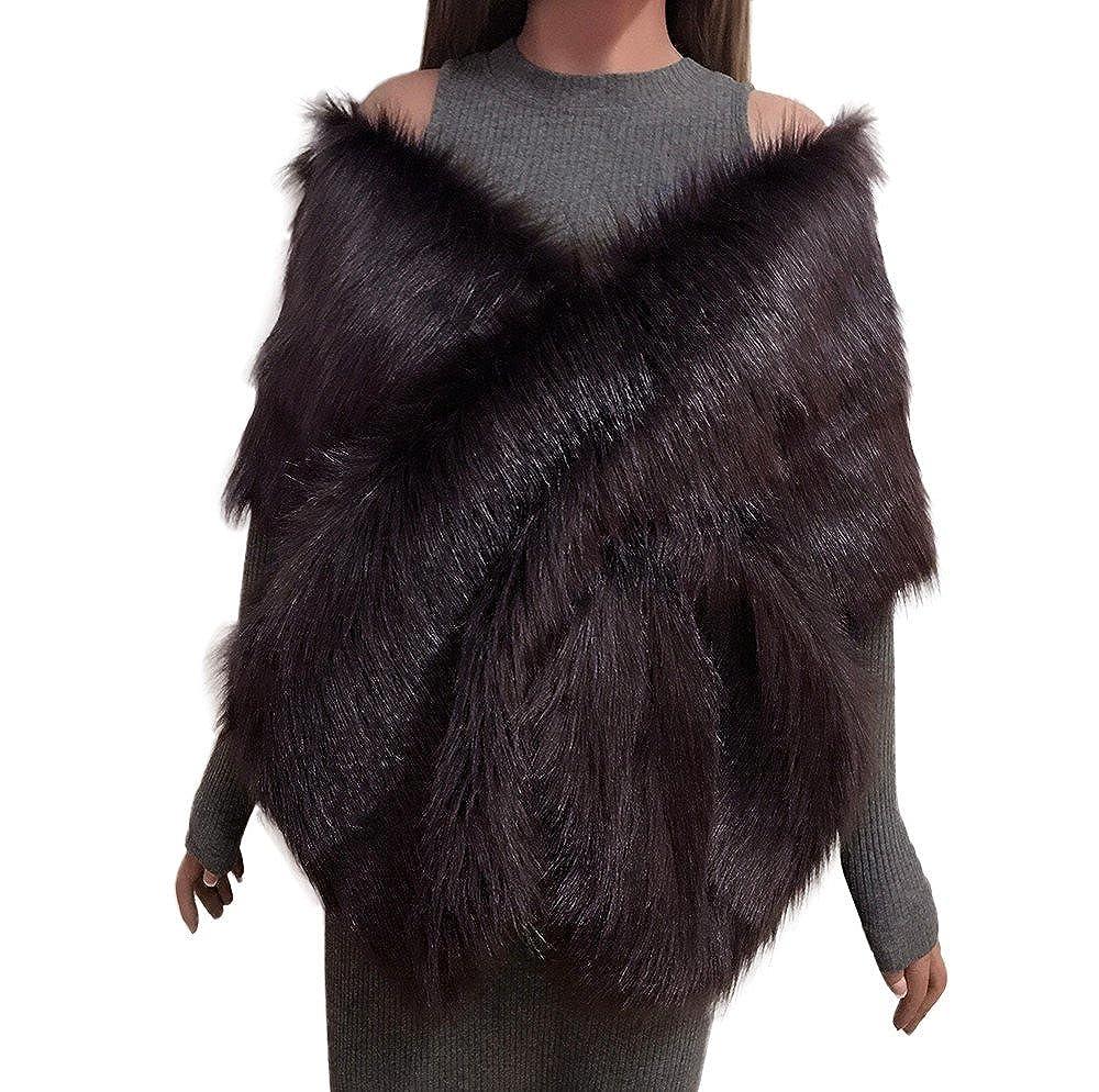 Coffee UONQD Women Faux Fox Fur Long Shawl Stole Wrap Shrug Scarf Bridal Wedding