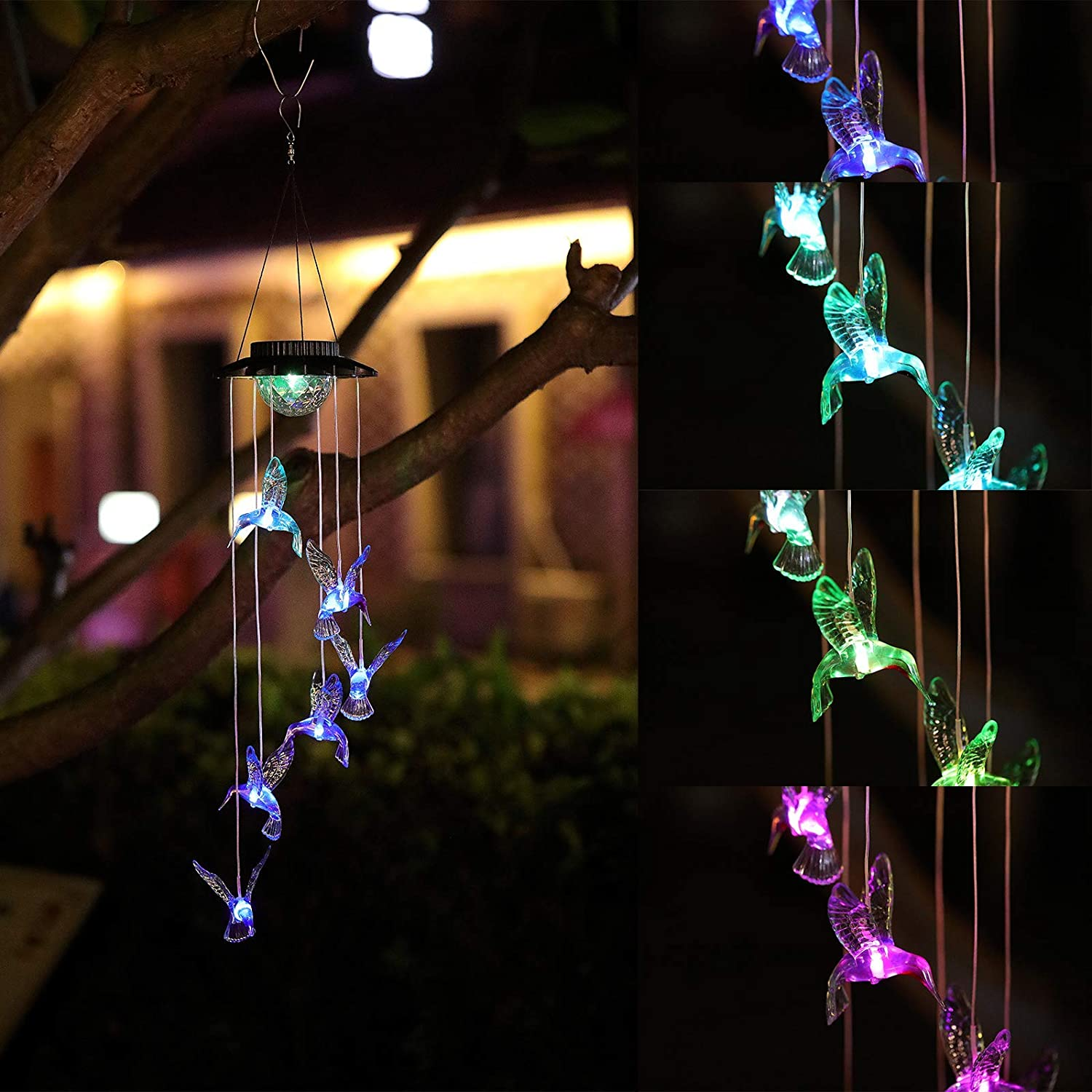 Yeuago Solar Wind Chimes for Outside, Changing Color LED Hummingbird Wind Chimes,Decor for Patio Yard Garden Home,for Mom, Grandma Birthday Gifts