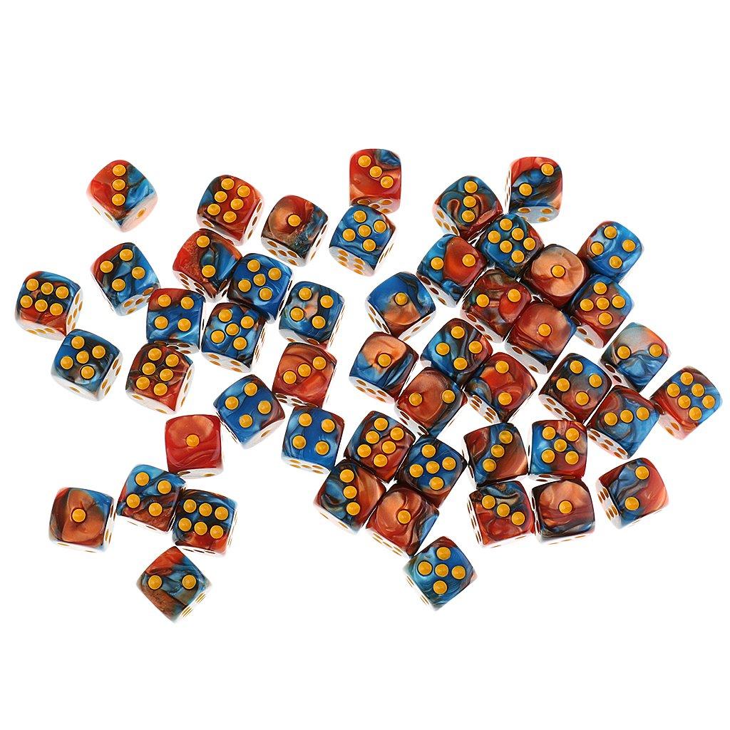 Sharplace [ Lot de 50pcs ] 12mm Jeux de Dés Polyédrique D6 en Acrylique Pour Donjons/ Dragons / MTG/ RPG/ Jeu de Rôle ( 9 Styles ) - Blanc Noir