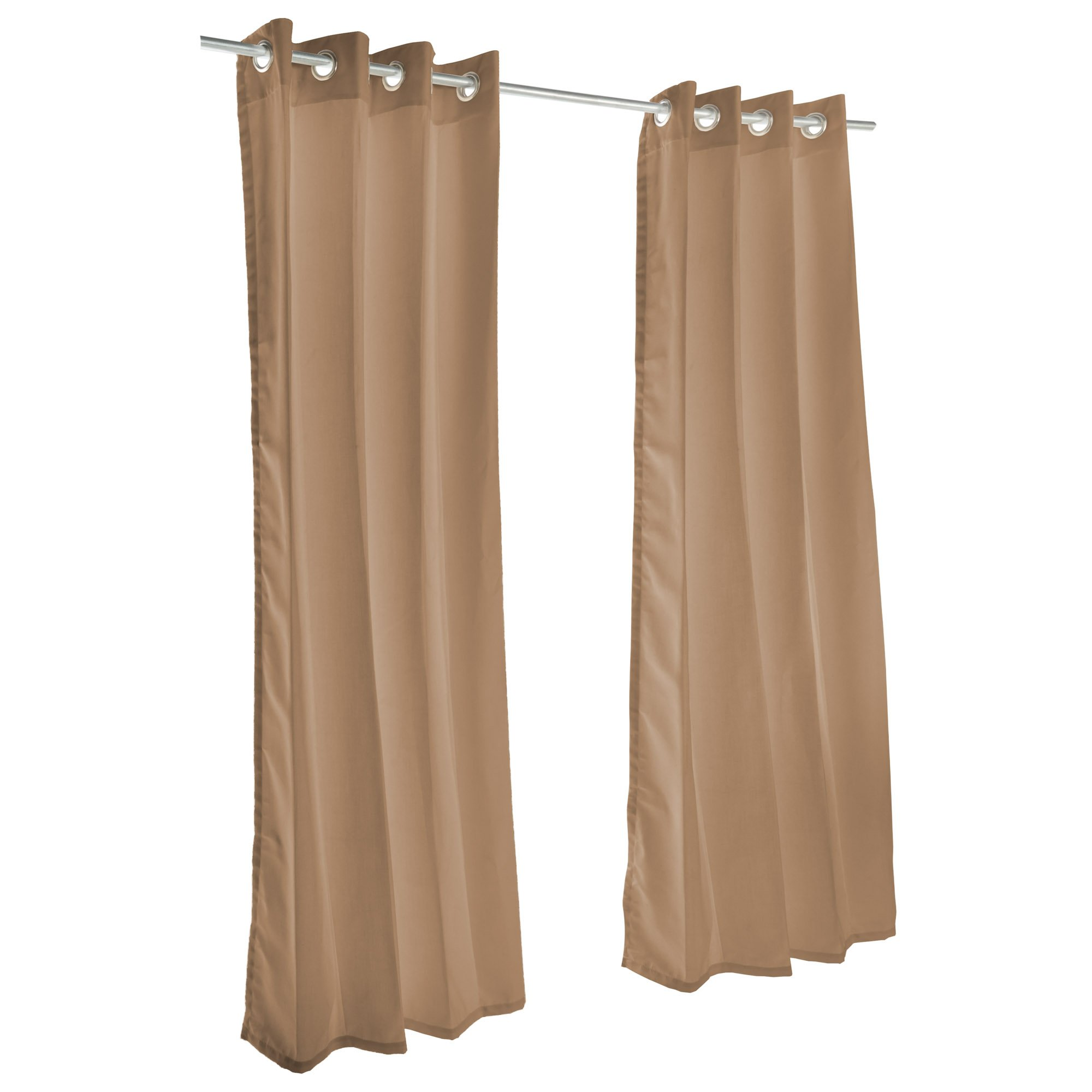 Sunbrella Outdoor Curtain with Nickel Grommets - Canvas Cocoa (50'' W X 96'' L)