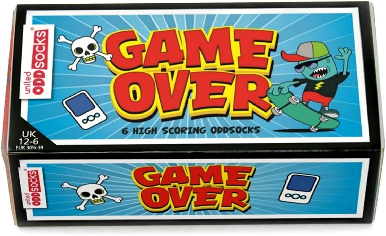 US 13.5-7 UK 12-6 EUR 30.5-39 Game Over Box of 6 Oddsocks For Boys