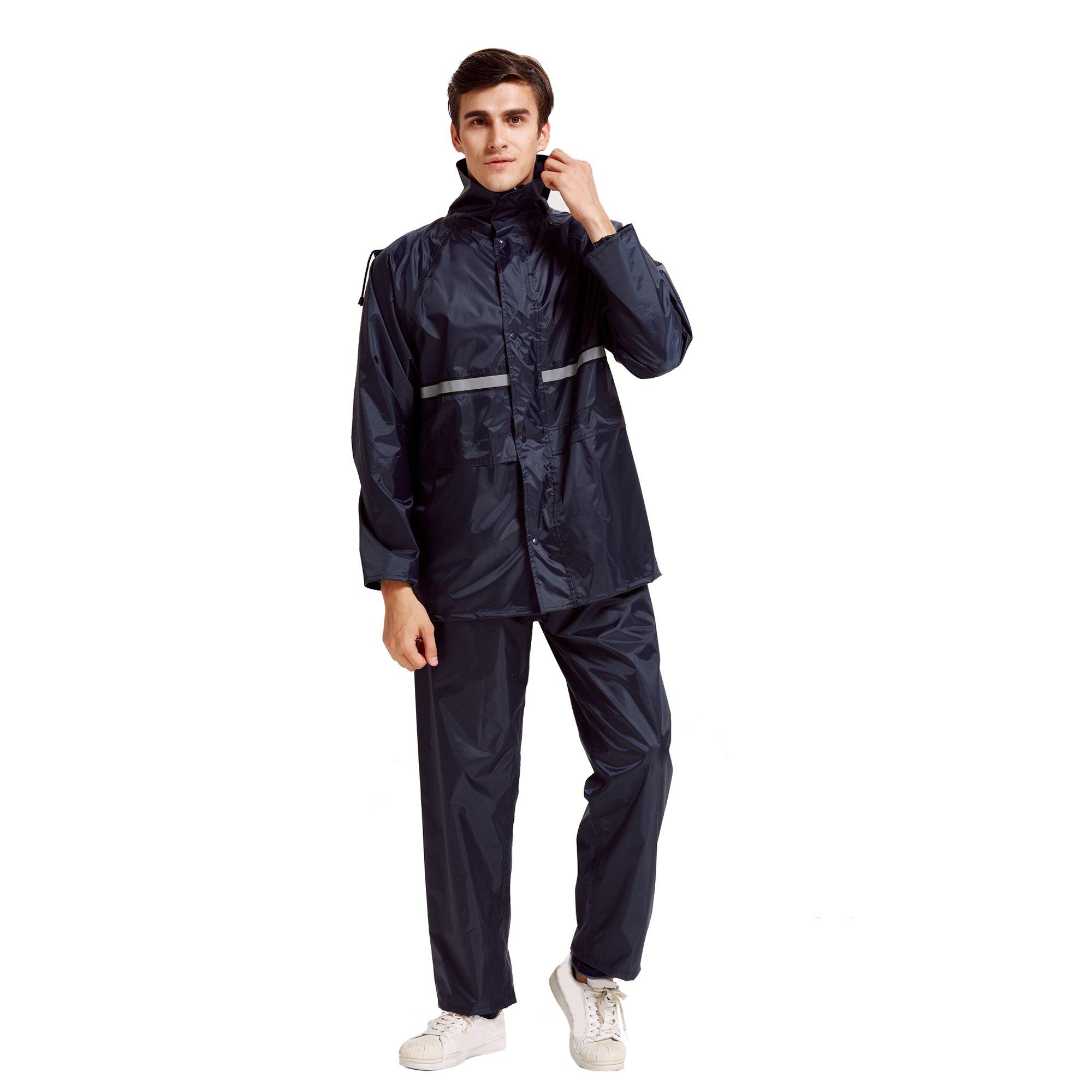 Peacoco Motorcycle Rain Suit for Men & Women Waterproof Hooded Rainwear Jacket & Trouser Suit (XXXL, New Navy Blue)