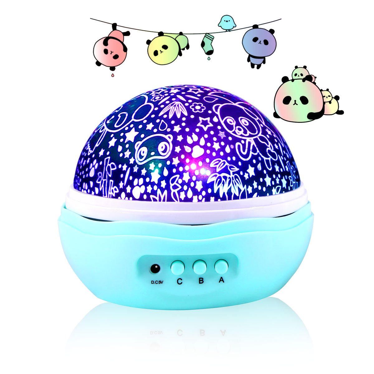Cute Panda Projector Night Light, 360 Degree Rotation With 8 Light Modes - Perfect for Bedroom, Baby and Kid's Room [Wall Adapter Included] B07B4D2BF4 13746 Mini Cute Pandas Mini Cute Pandas