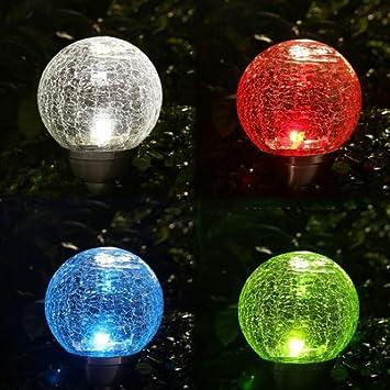 Lampes Lot Boule Solaires Verre Craquelé Luminaire De 4 Ybyfv67g