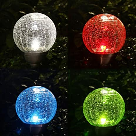set of 2 solar crackle glass ball lights fixture multicolor changing led lamp outdoor garden christmas - Sphere Christmas Lights