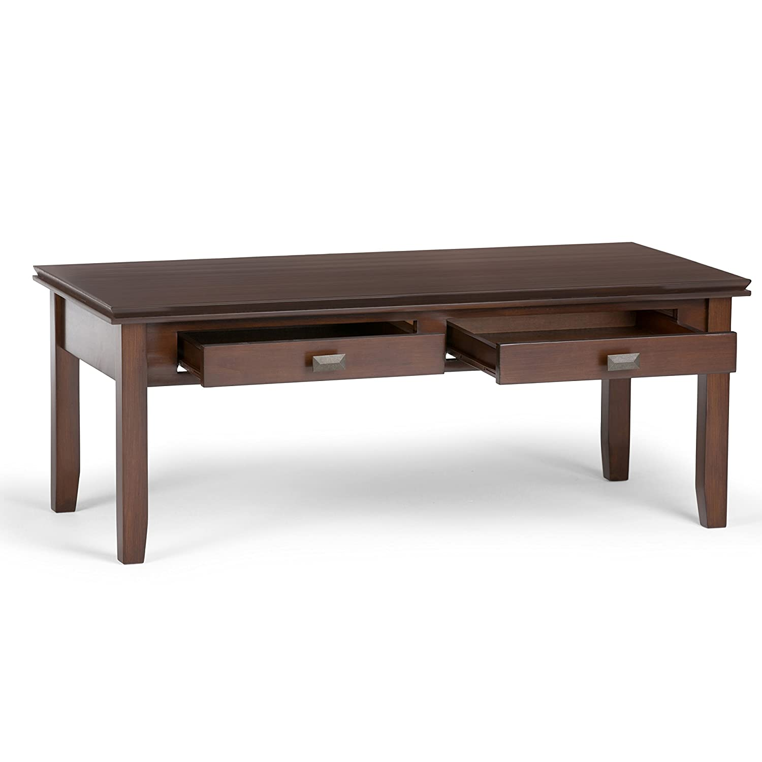 Amazon Simpli Home Artisan Coffee Table Medium Auburn Brown