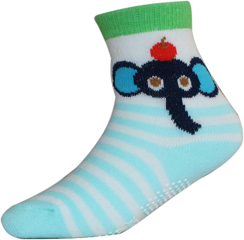 Jiuhong Baby Boys Socks Toddler Non Skid Cotton Socks with Grip 12 Pairs