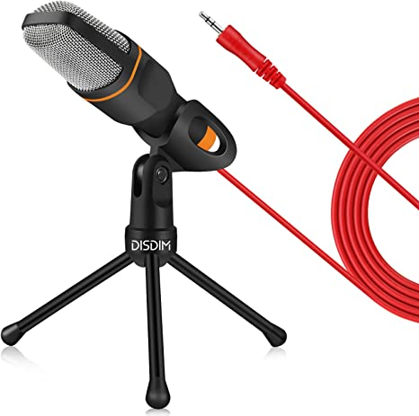 Micrófono Disdim, conector de 3,5 mm, con soporte, para PC ...