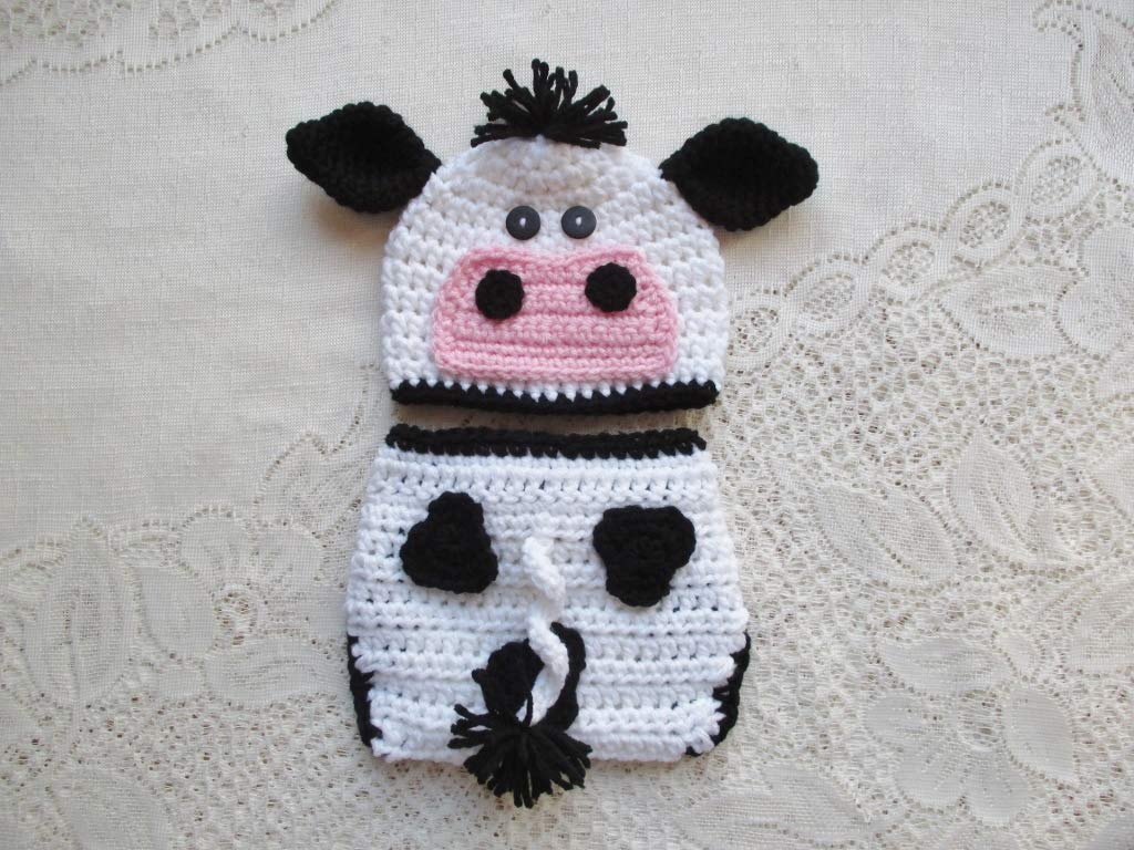 Amazoncom Baby Cow Crochet Hat And Diaper Cover Set Baby Photo